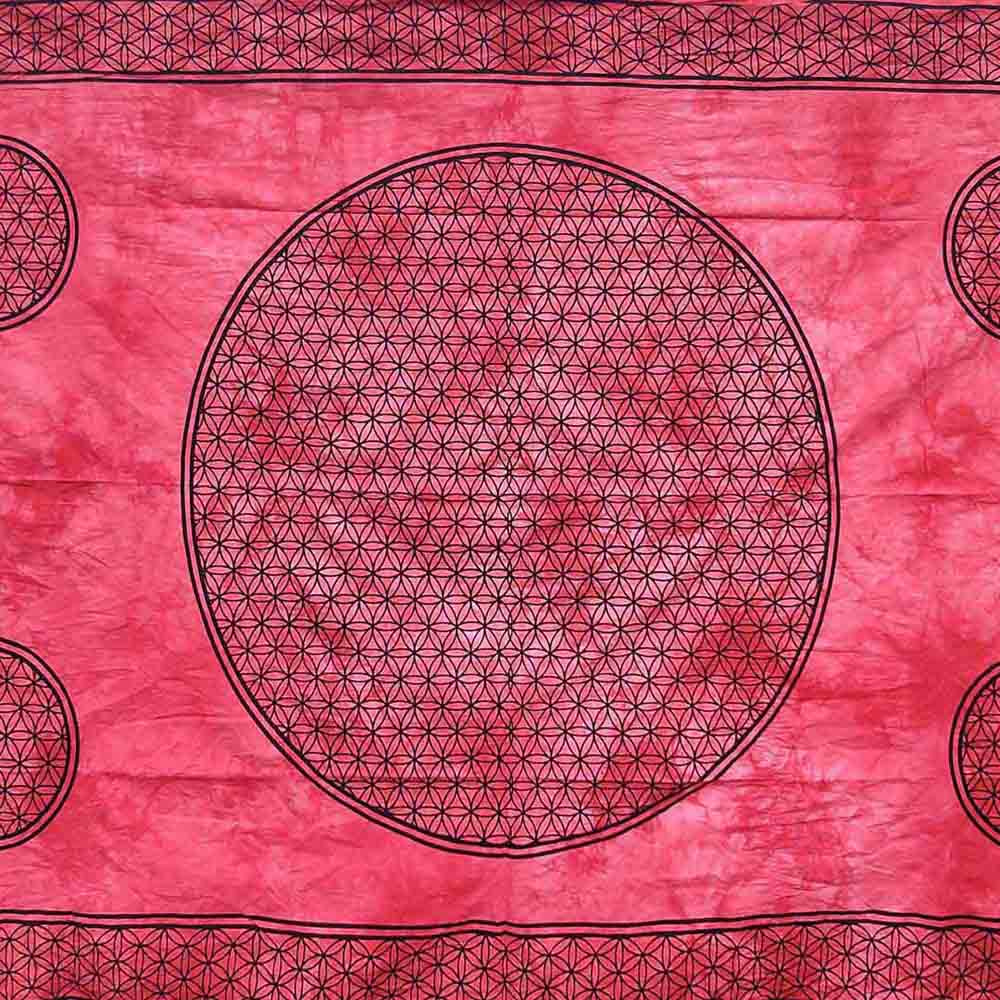 Red Dye Flower of Life Screen Printed Queen Twin Tapestry