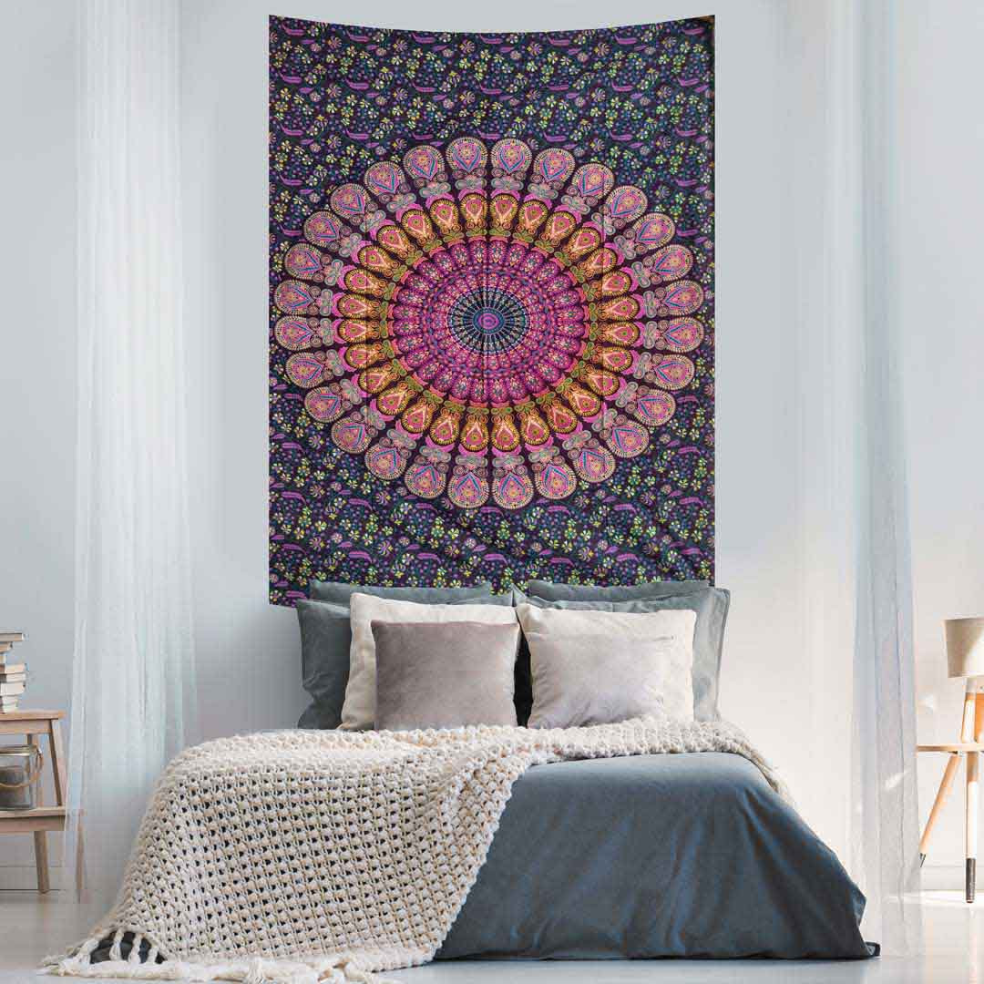 Blue Pink Peacock Feather Mandala Screen Printed Queen Twin Tapestry