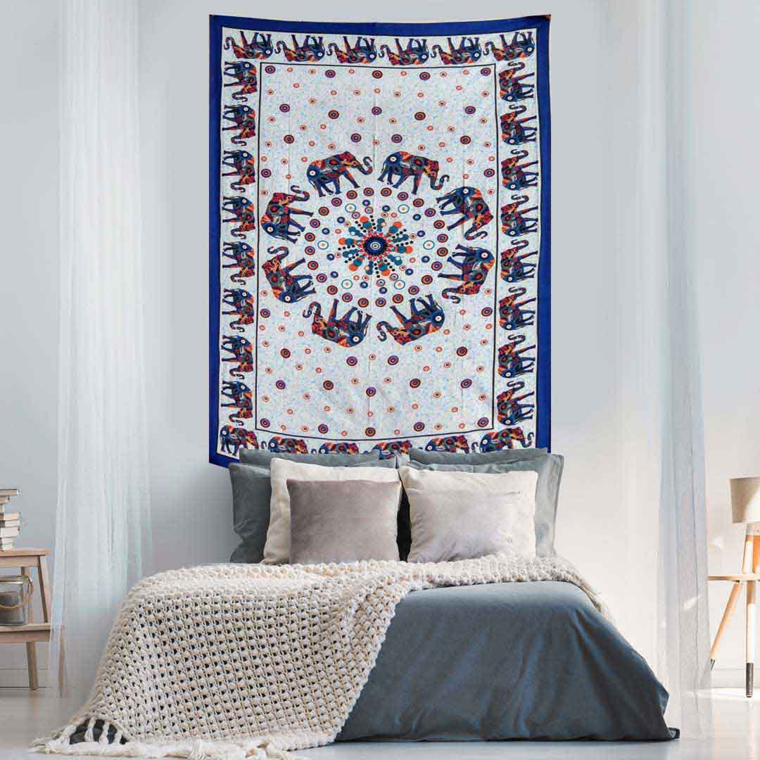 White Blue Elephant Screen Printed Queen Twin Tapestry