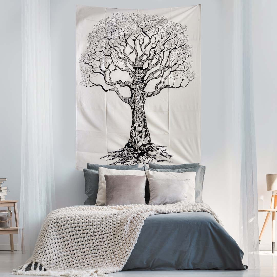 Black and White Tree Screen Printed Queen Twin Tapestry