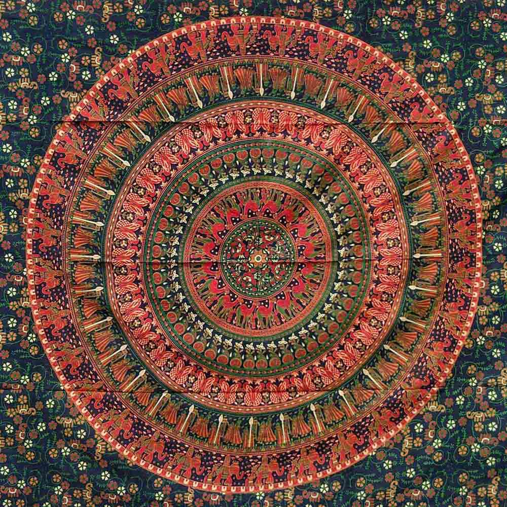 Green Red Peacock Couple Queen Twin Mandala Screen Printed Tapestry