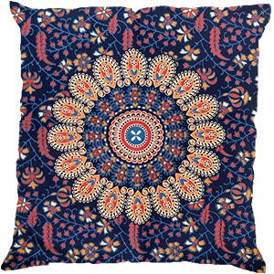 Blue Red Screen Print Cotton 16″ × 16″ Meditation Pillow