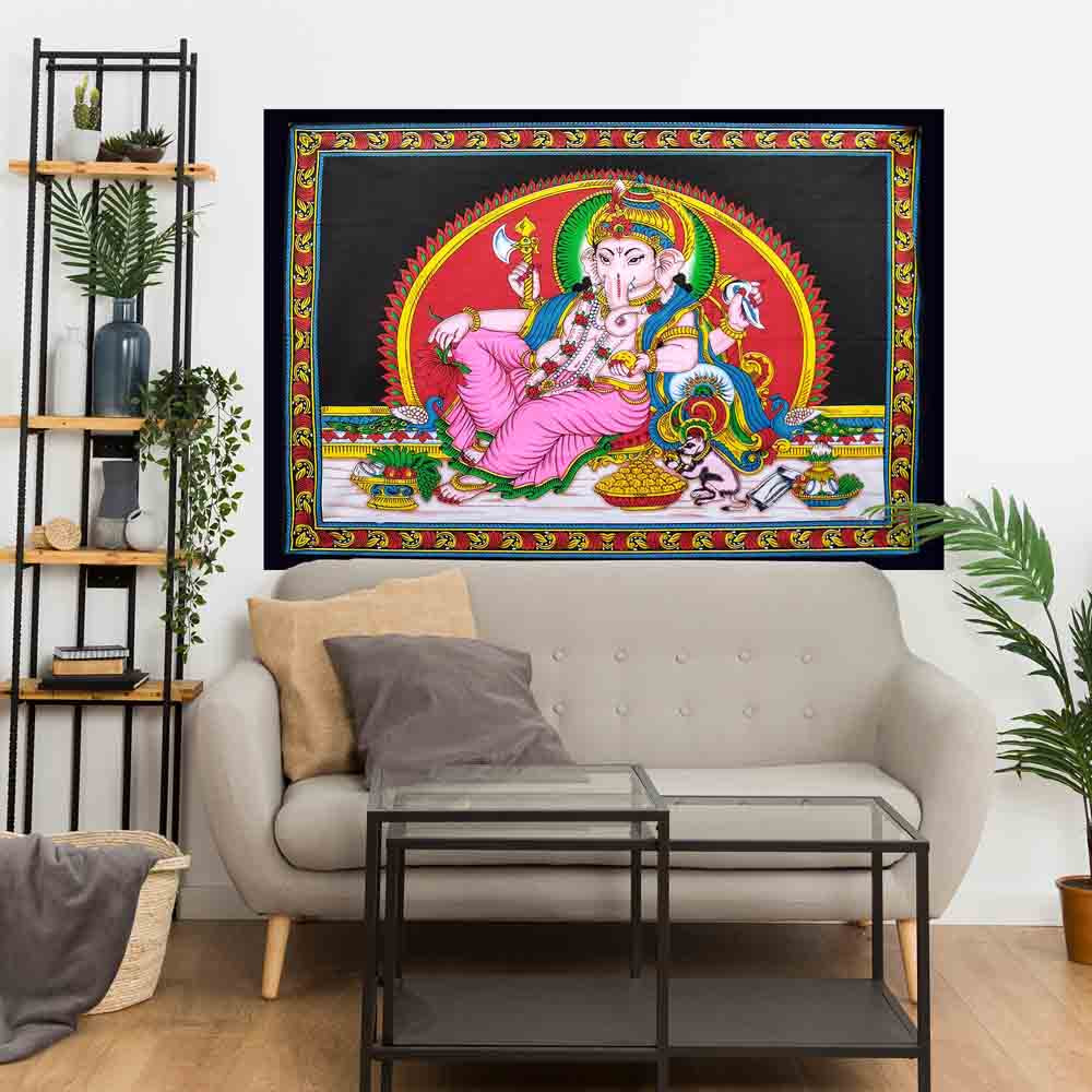 Multicolor Ganesha Hindu God Small Cotton Screen Printed Wall Hanging Tapestry
