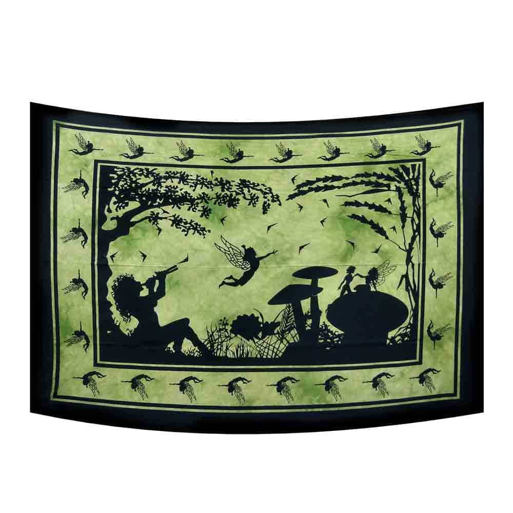 Green Flute Girl Tie Dye Small Cotton Screen Printed Wall Hanging Tapestry