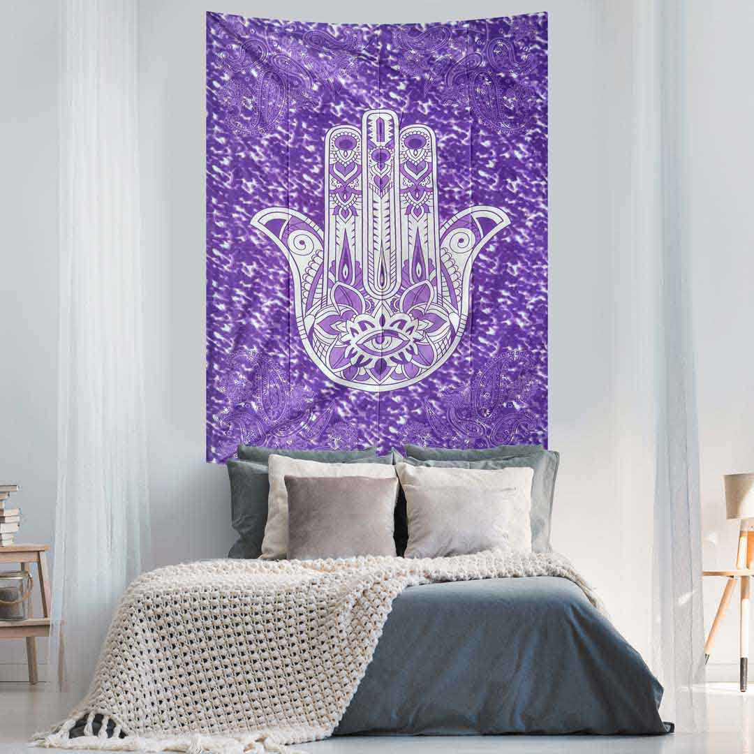Hamsa Hand Purple Screen Printed Queen Twin Tapestry