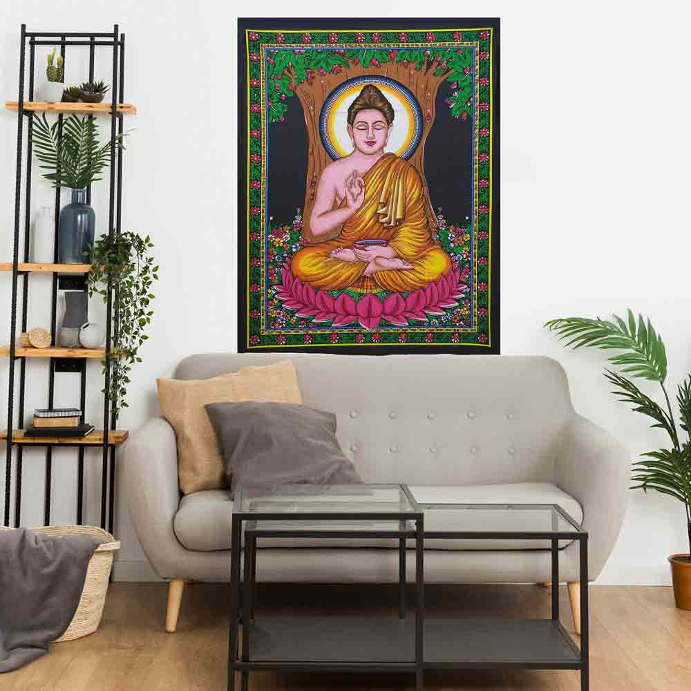 Buddha Tree Lotus Small Cotton Screen Printed Wall Hanging Tapestry