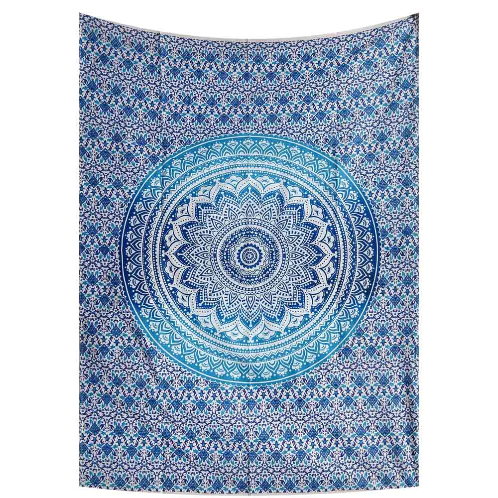Turquoise Ombre Mandala Gumbad Small Cotton Screen Printed Wall Hanging Tapestry