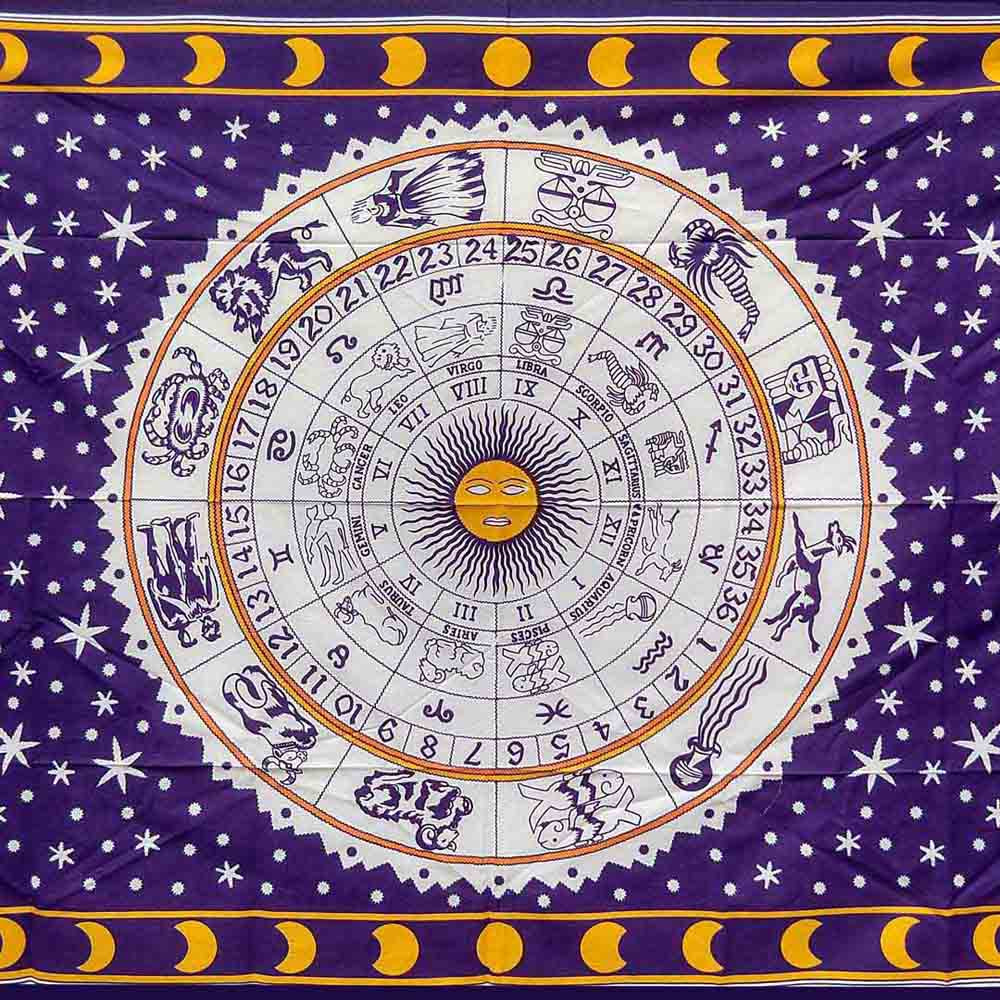 Purple Zodiac Moon Queen Twin Screen Printed Tapestry