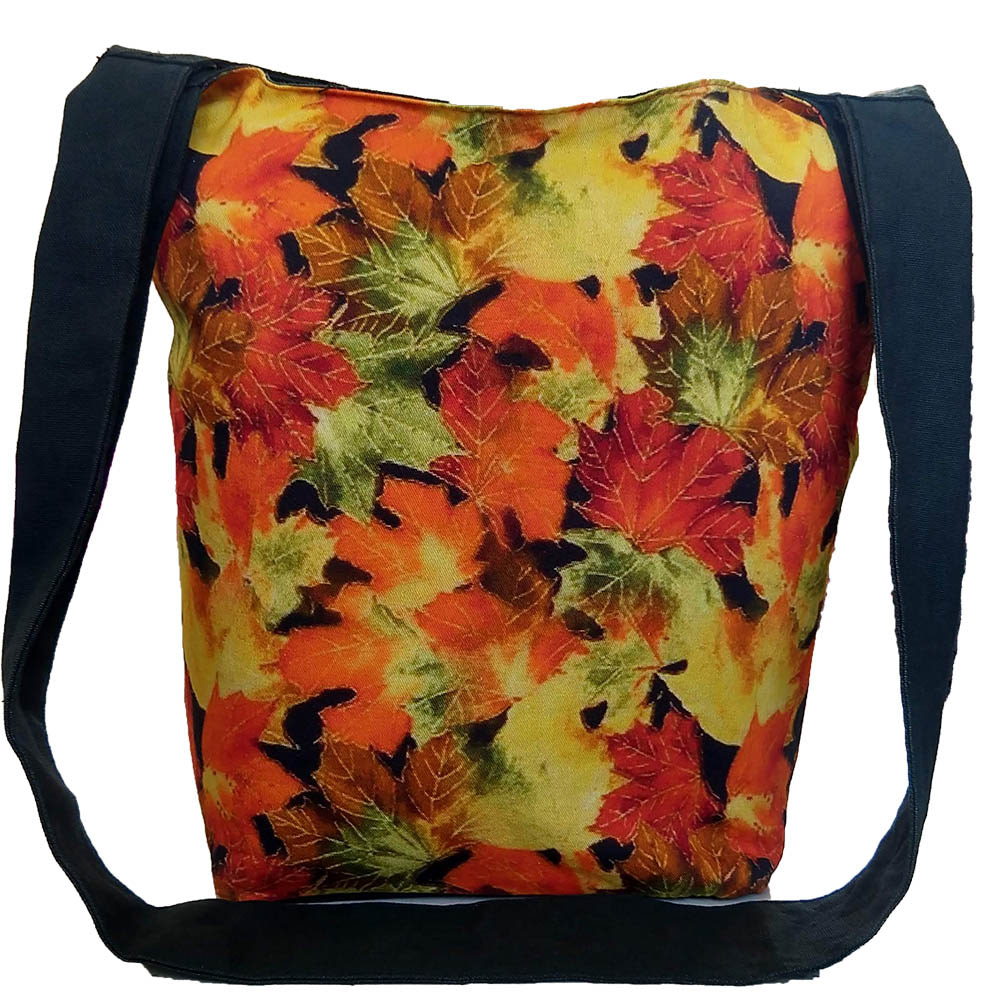 Multi Color Leaf Cotton Tote Bag Digital Printed