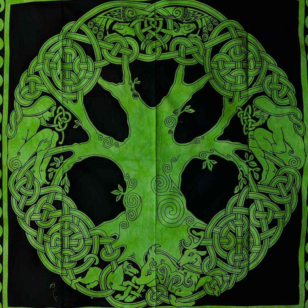 Green Black Celtic Tree Fairy Screen Printed Queen Twin Tapestry