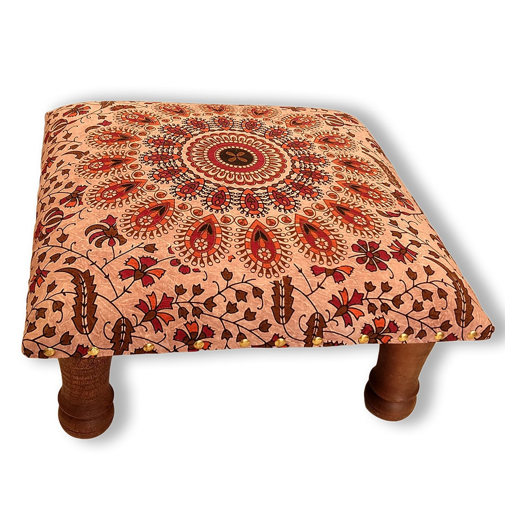Stone Wash Brown Mandala Screen Printed wooden Footrest Stool