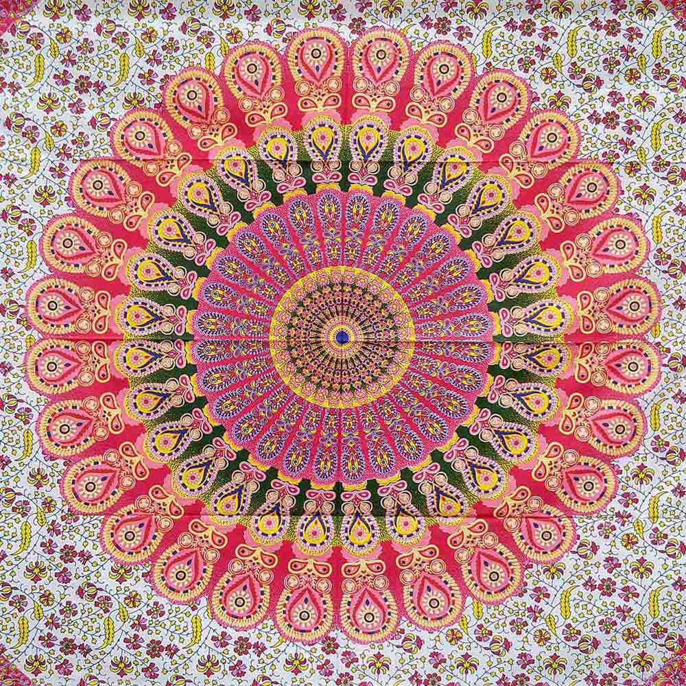Red Green Yellow Peacock Feather Mandala Screen Printed Queen Twin Tapestry