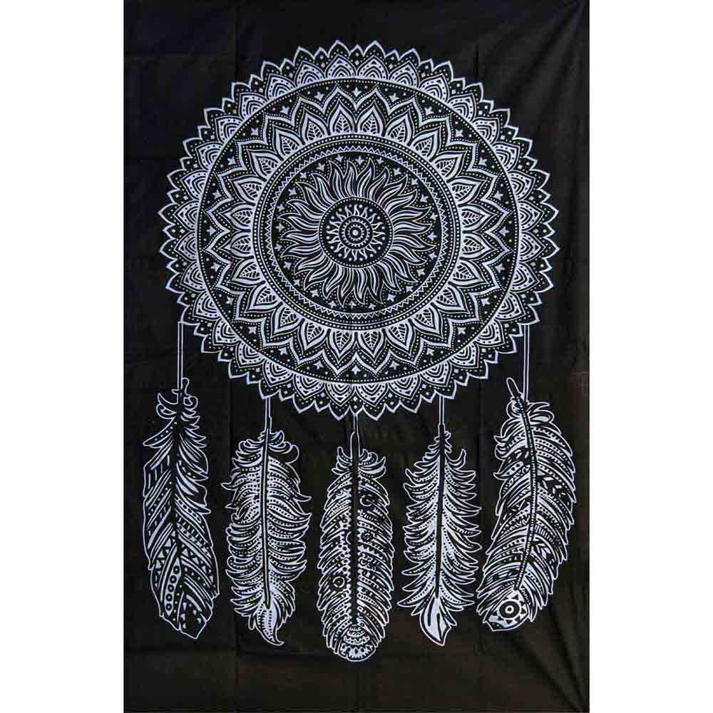Dreamcatcher Five Feather Screen Printed Black and White Queen Twin Tapestry