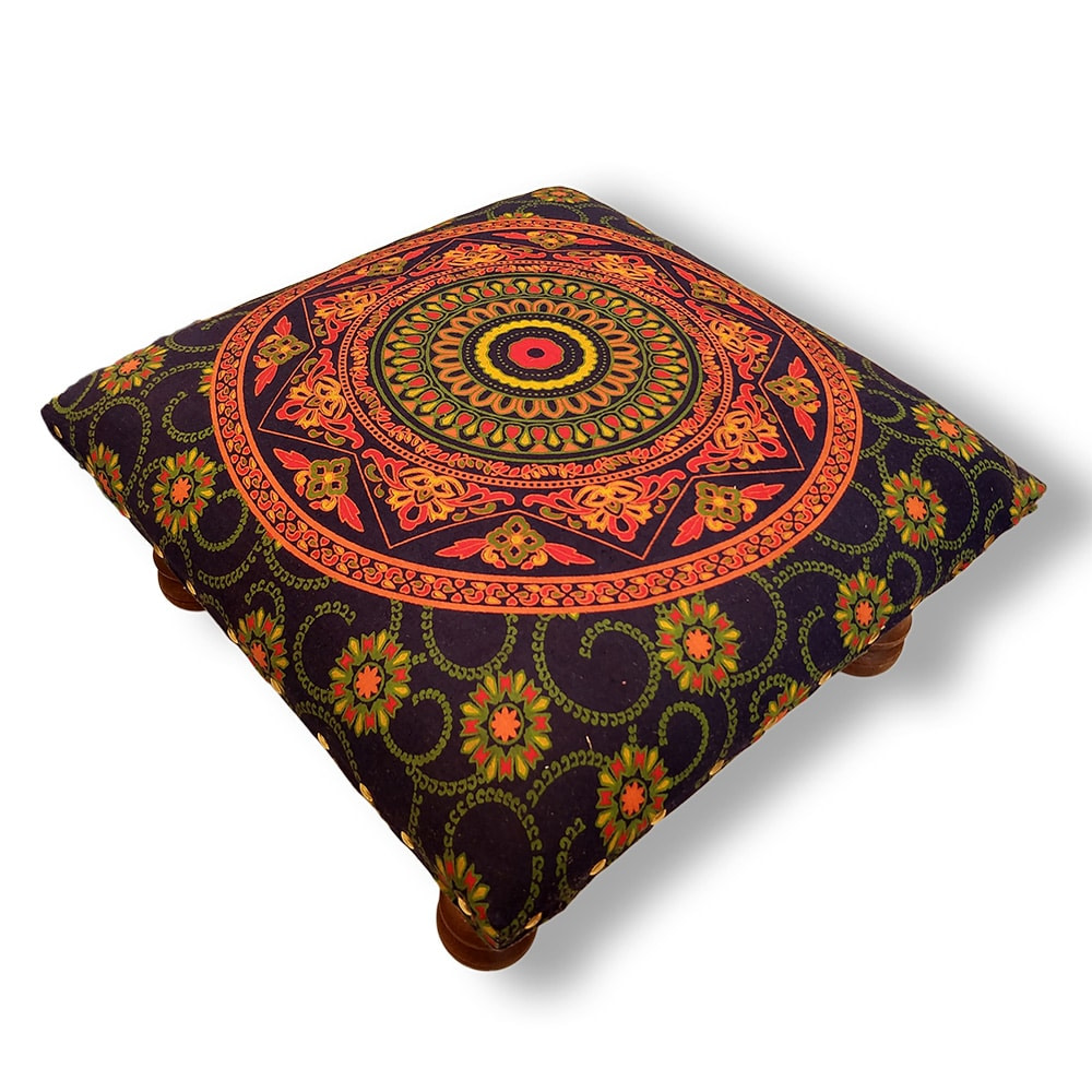 Green Orange Mandala Screen Printed wooden Footrest Stool