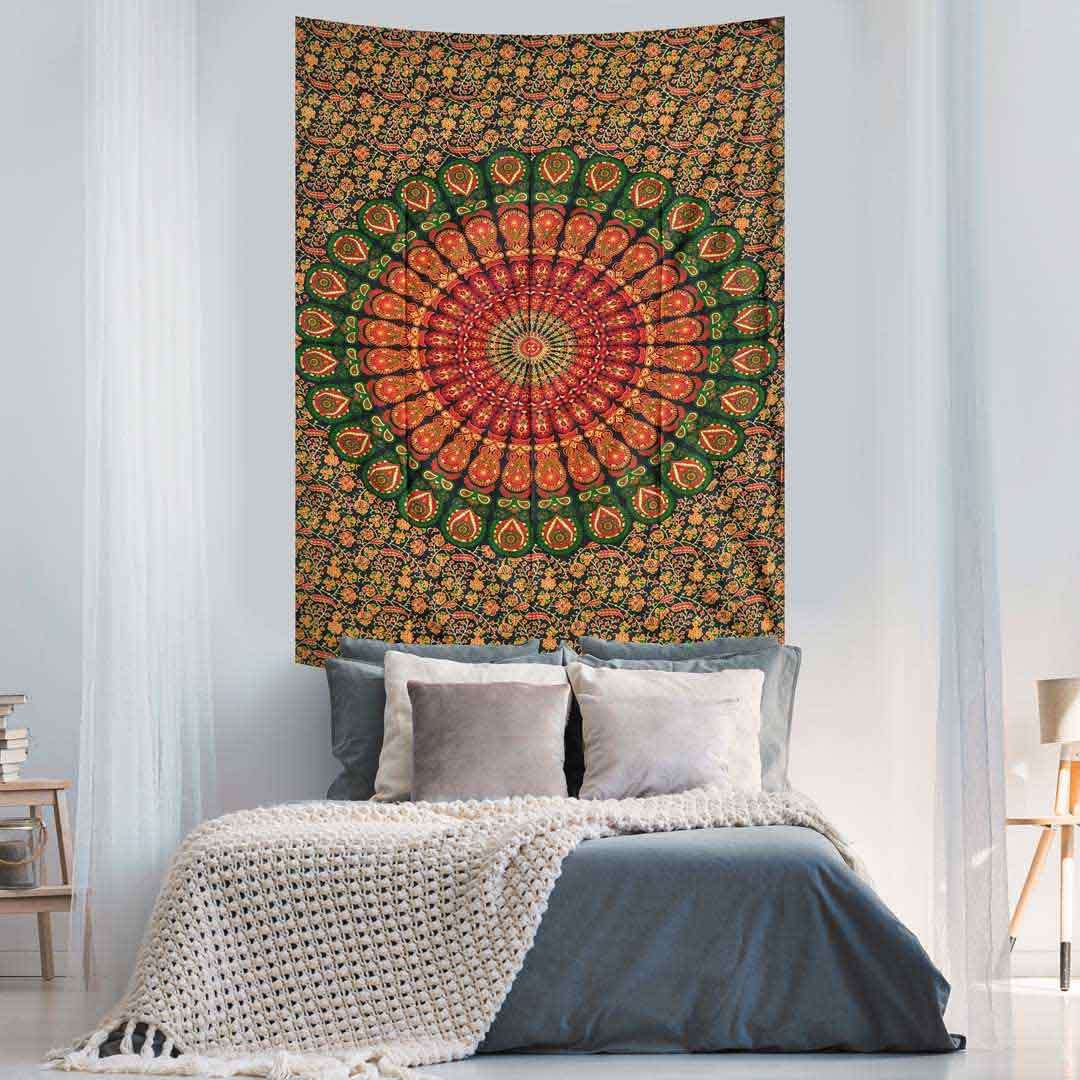 Green Red Peacock Feather Mandala Screen Printed Queen Twin Tapestry