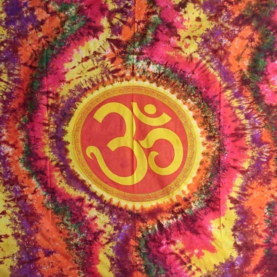 Om Tye Dye Twin Queen Screen Printed Tapestry