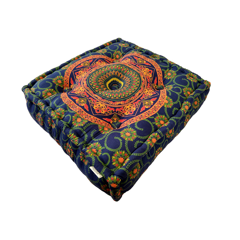 Blue Orange Screen Print Cotton Meditation Cushions