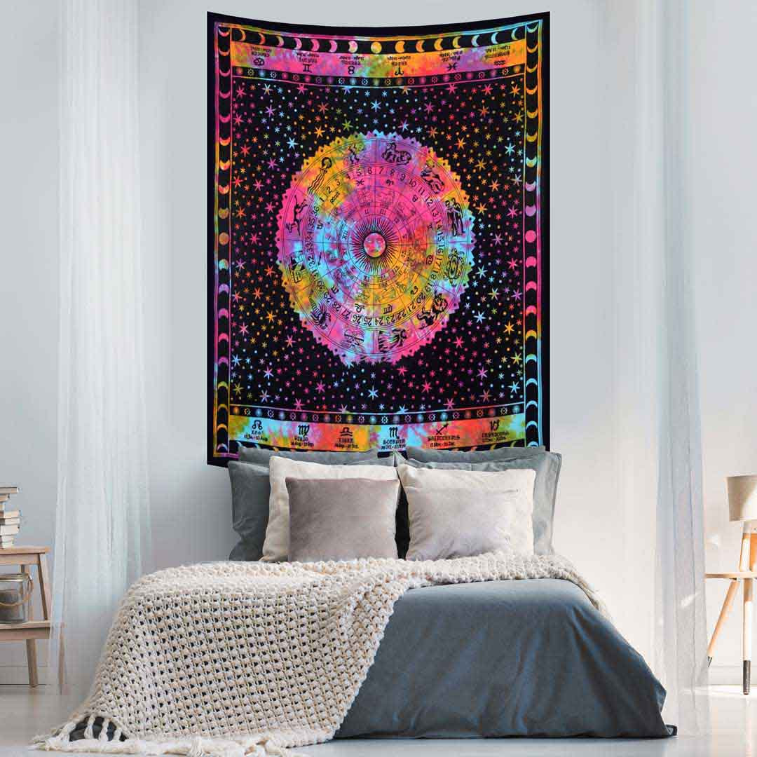 Tye Dye Zodiac Moon Queen Twin Screen Printed Tapestry