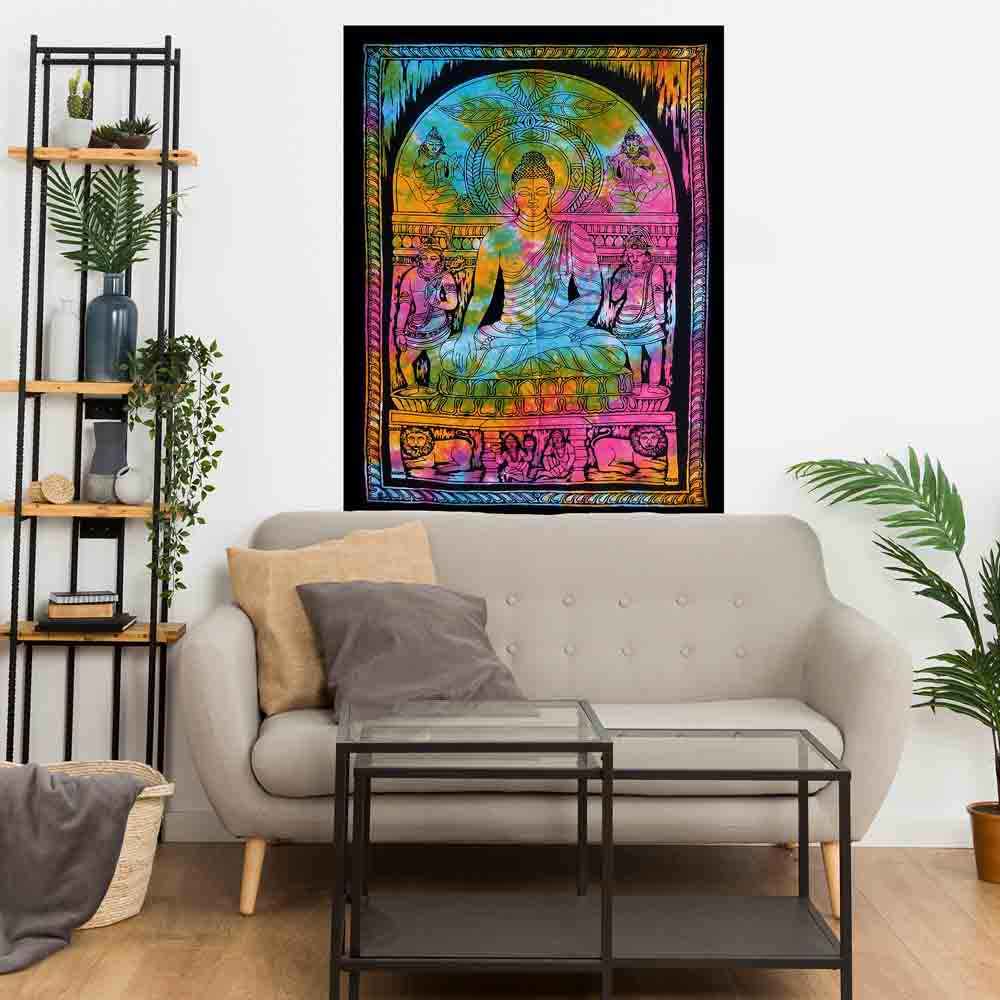 Tie Dye Meditation Buddha Small Cotton Screen Printed Wall Hanging Tapestry