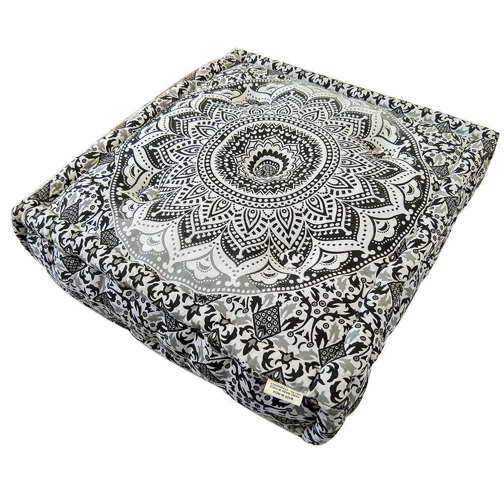 Grey Screen Print Cotton Meditation Cushion
