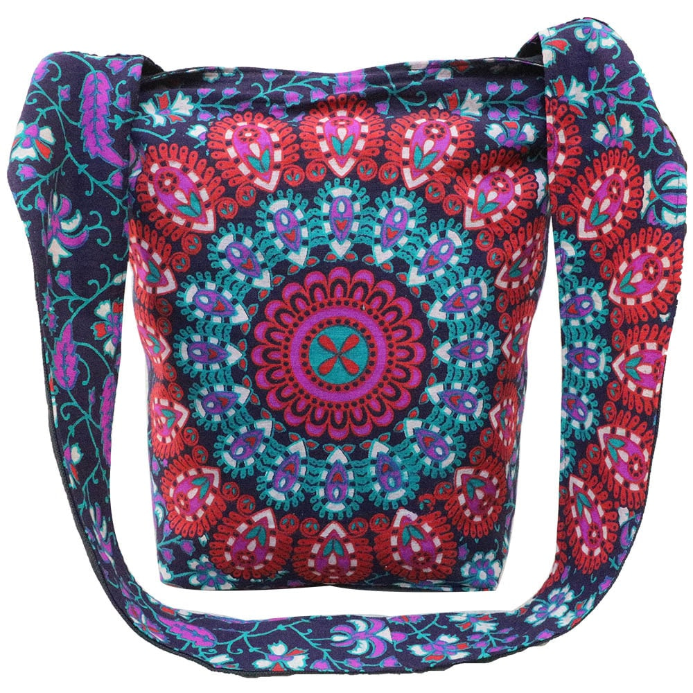 Purple Mandala Cotton Tote Bag Screen Printed