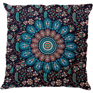 Turquoise Screen Print Cotton 16″ × 16″ Pillow