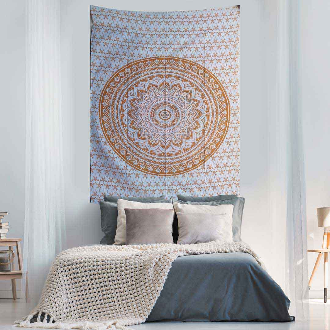 Yellow Ombre Screen Printed Queen Twin Tapestry