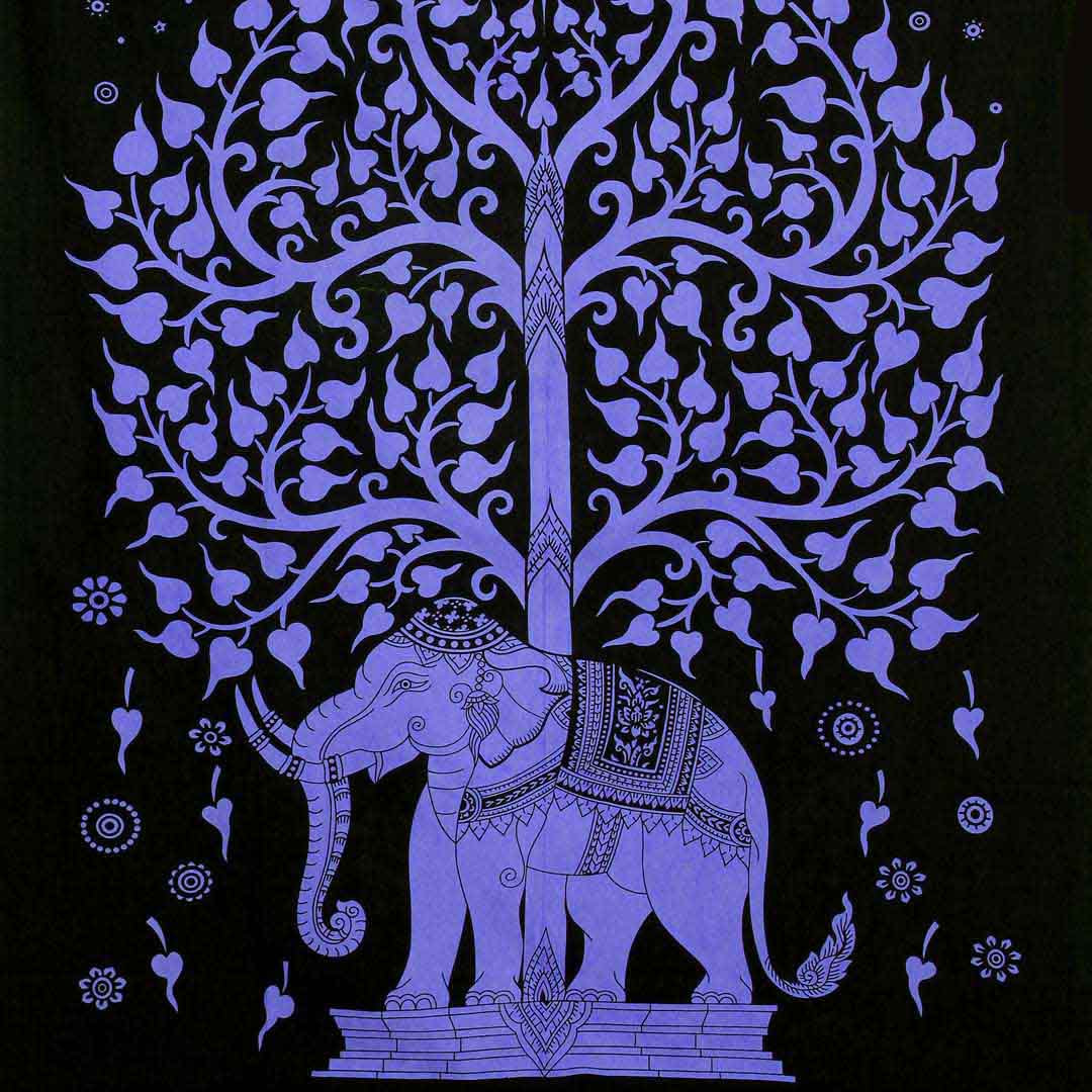 Purple Elephant Tree Screen Printed Queen Twin Tapestry