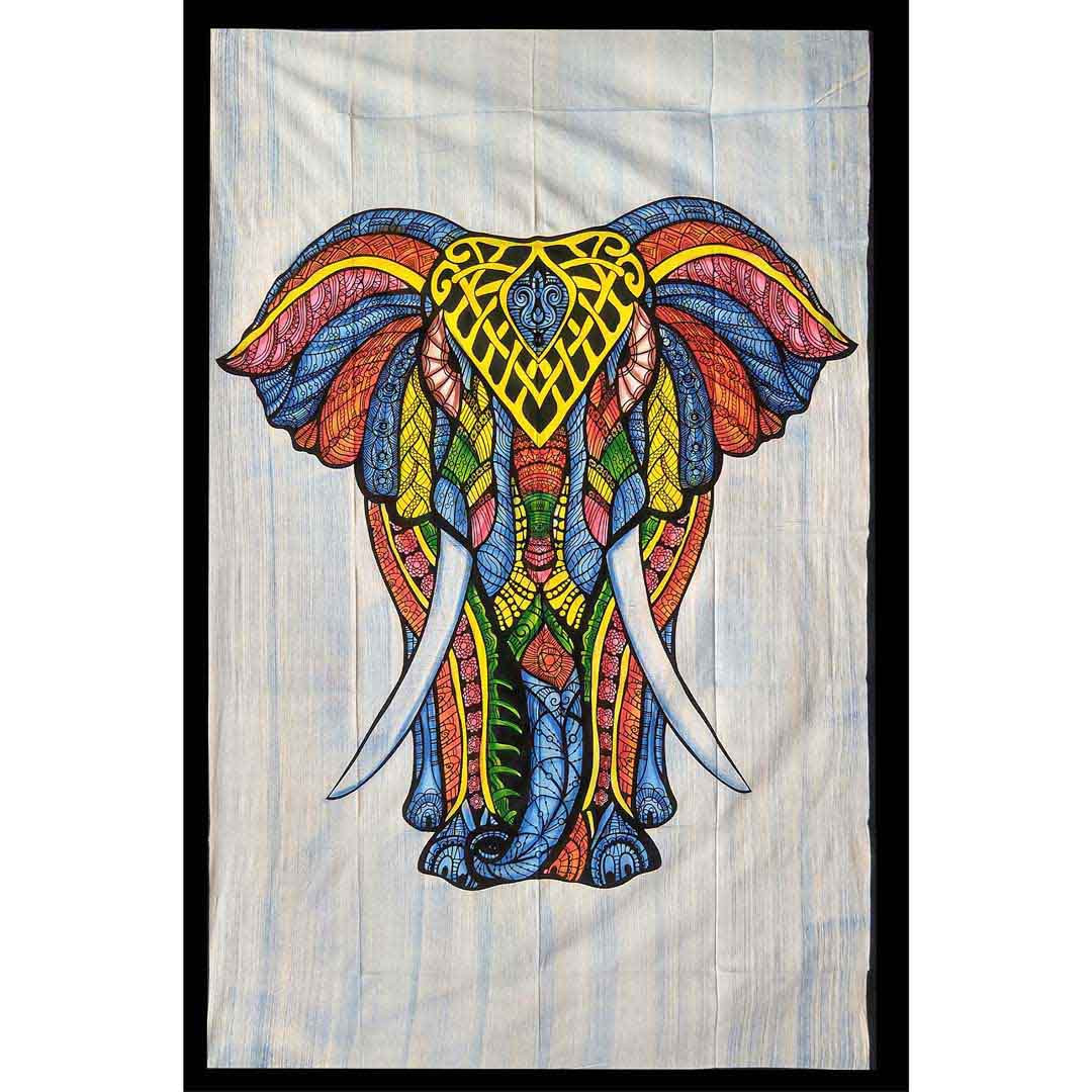 Multi Color Hand Brush Screen Printed Elephant Queen Twin Tapestry