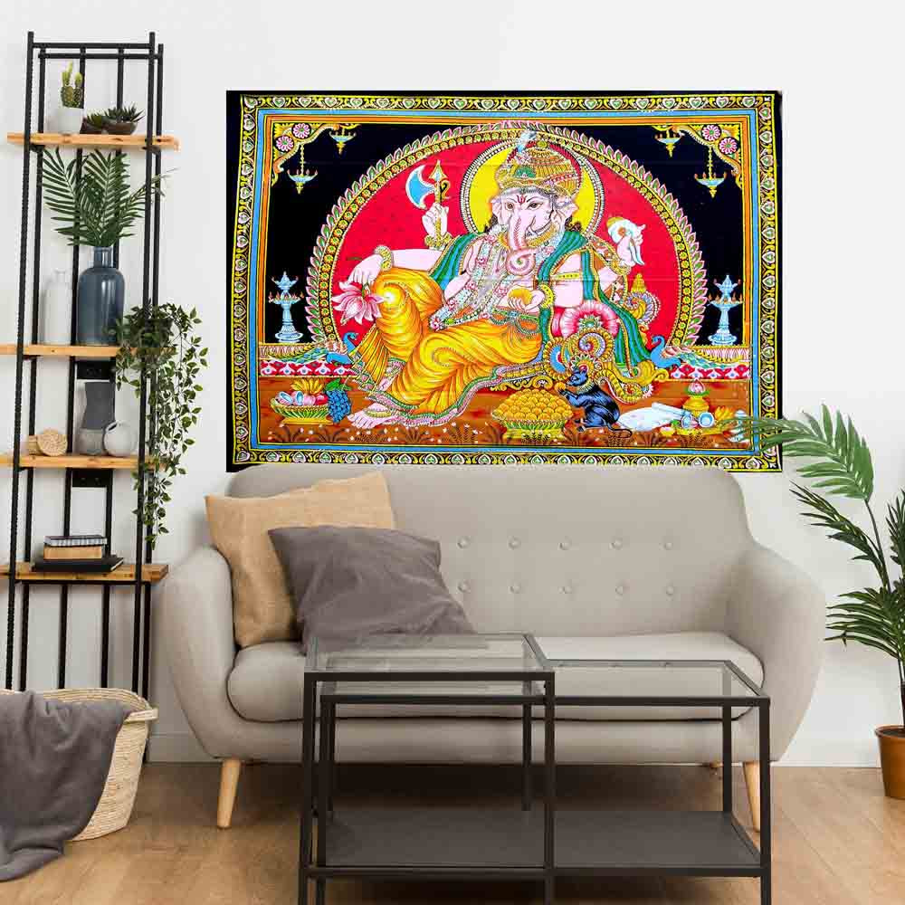 Lord Ganesha Hindu God Small Cotton Screen Printed Wall Hanging Tapestry