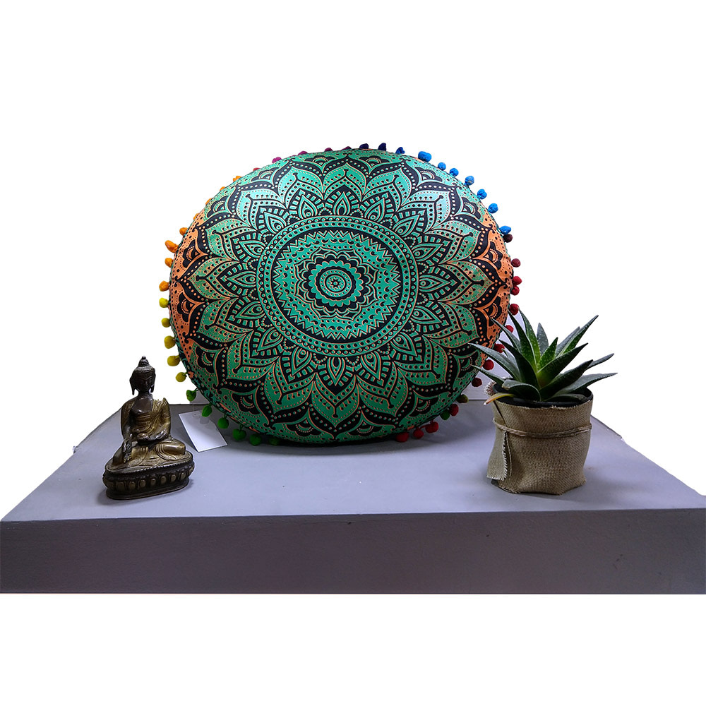 Green Orange Fluorescent Cotton Meditation Cushion