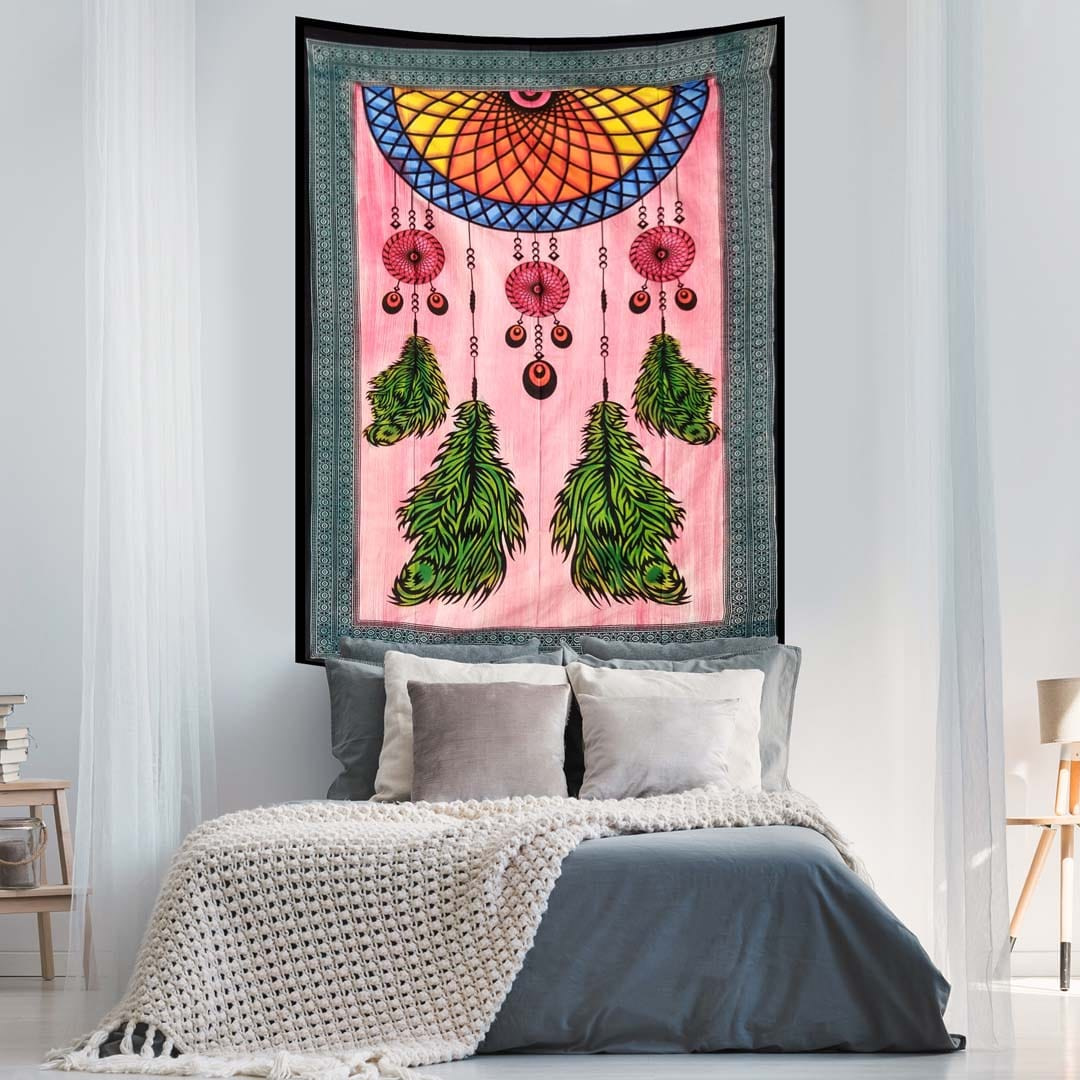 Dream Catcher Hand Brush Screen Printed Four Feather Queen Twin Tapestry