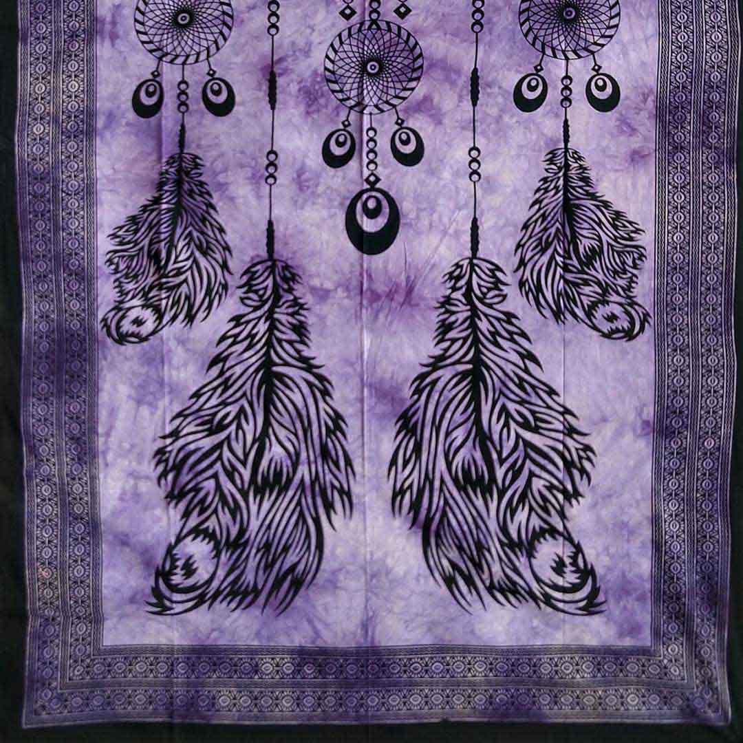 Dream Catcher Purple Screen Printed Four Feather Queen Twin Tapestry