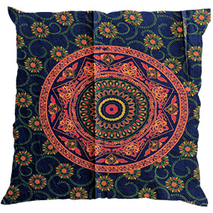 Orange Blue Screen Print Cotton 16″ × 16″ Pillow