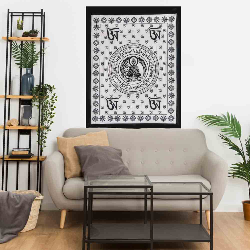 Black and White Buddha Tibet Small Cotton Screen Printed Wall Hanging Tapestry