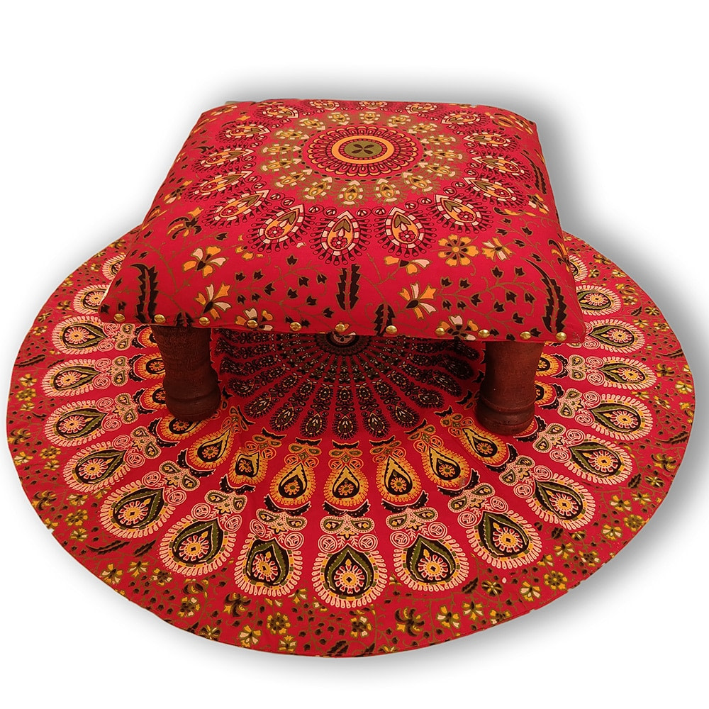 Red Mandala Screen Printed wooden Footrest Stool