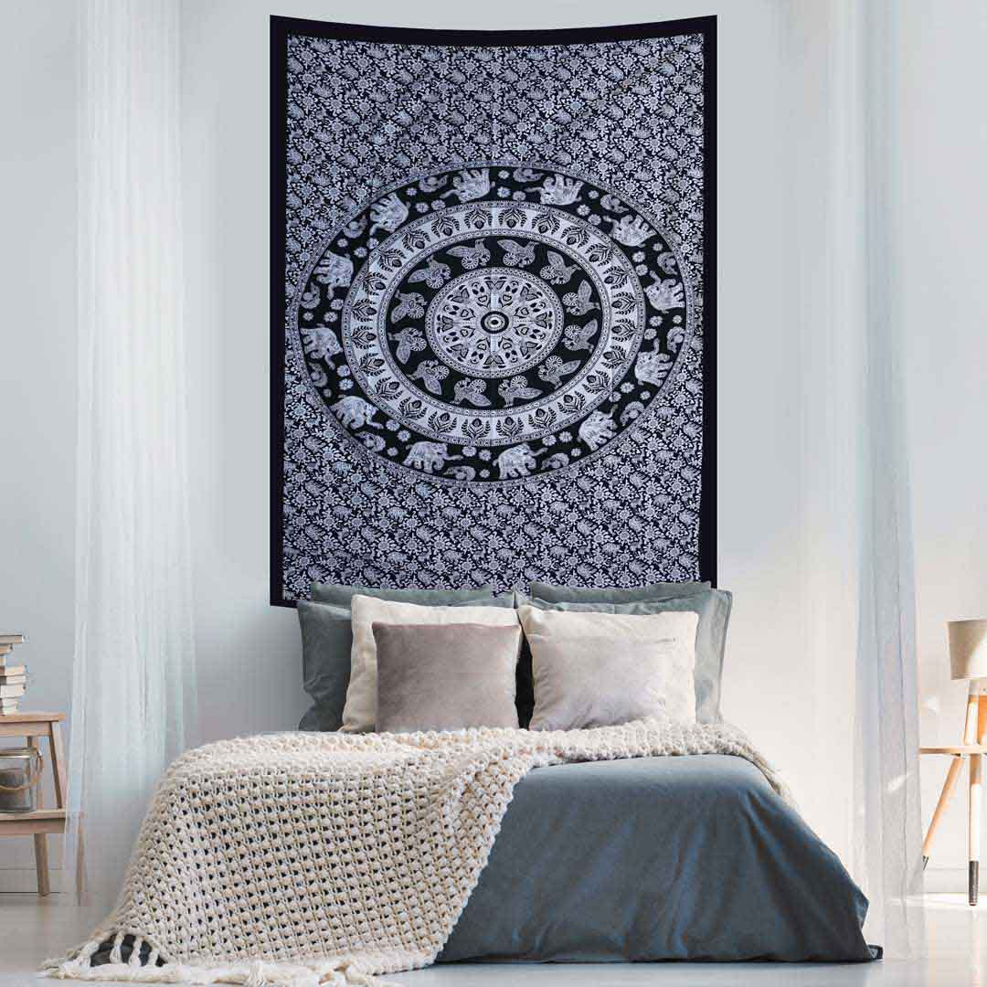 Black and White Peacock Elephant Queen Twin Tapestry