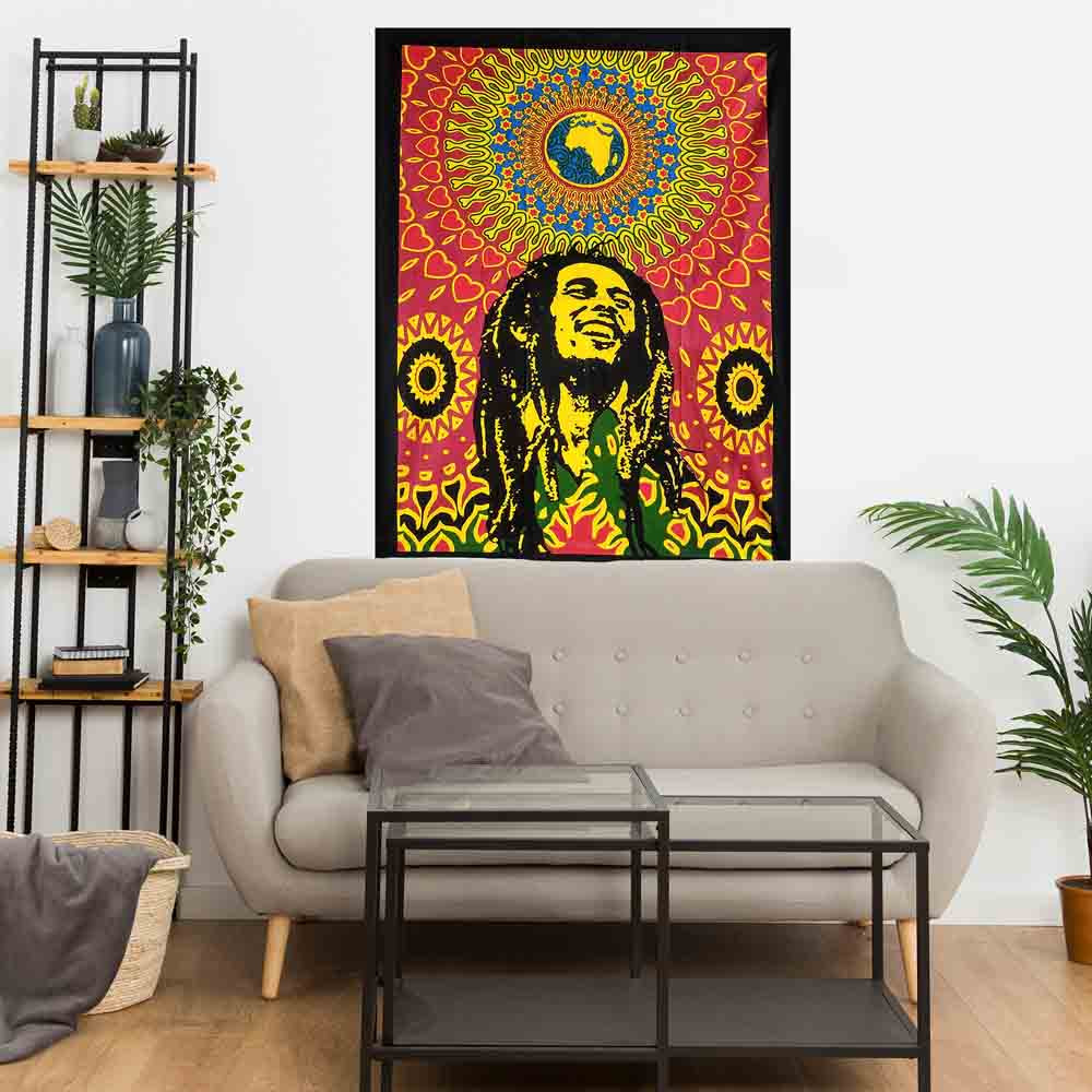 Bob Marley Rasta Globe Small Cotton Screen Printed Wall Hanging Tapestry