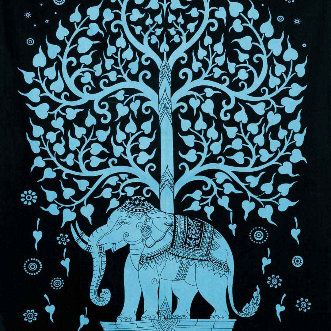 Neon Blue Elephant Tree Screen Printed Queen Twin Tapestry