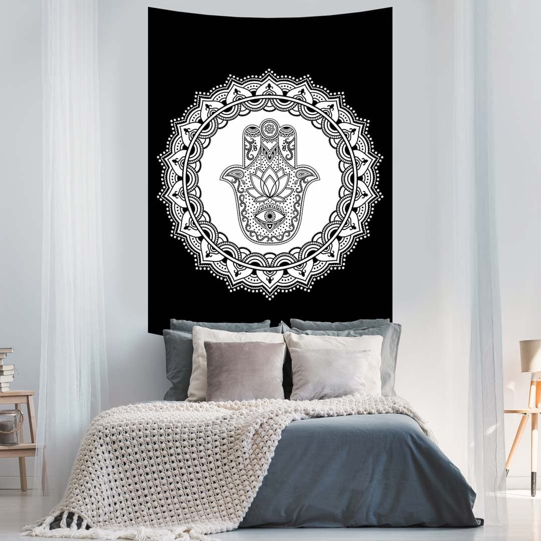 Black and White Hamsa Hand Ombre Queen Twin Screen Printed Tapestry