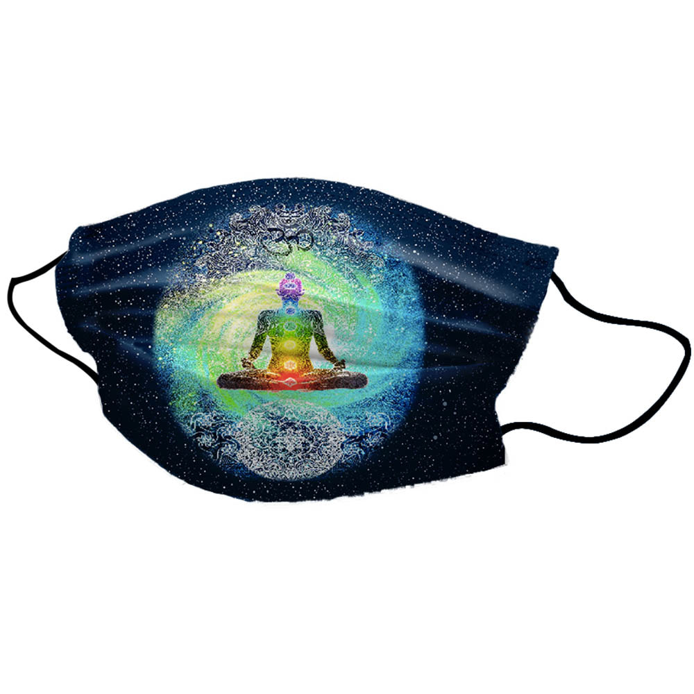 Half Blue Galaxy Yoga Man Unisex Cotton Face Mask