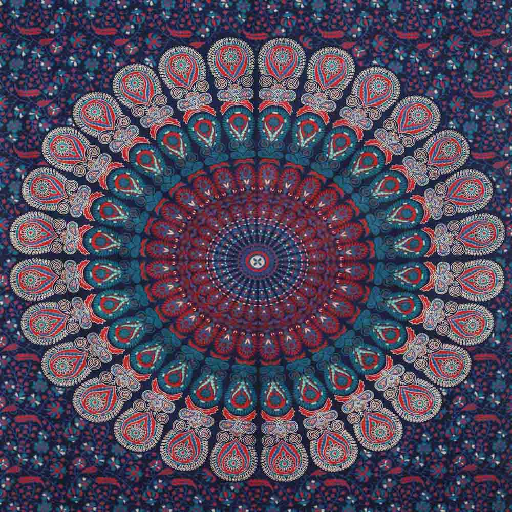 Blue Red Peacock Feather Mandala Screen Printed Queen Twin Tapestry