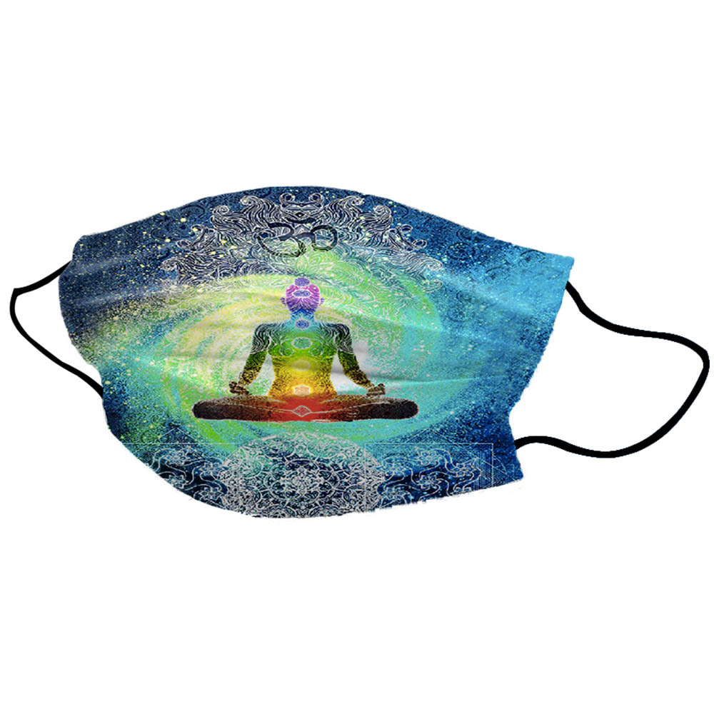 Blue Galaxy Yoga Man Unisex Cotton Face Mask