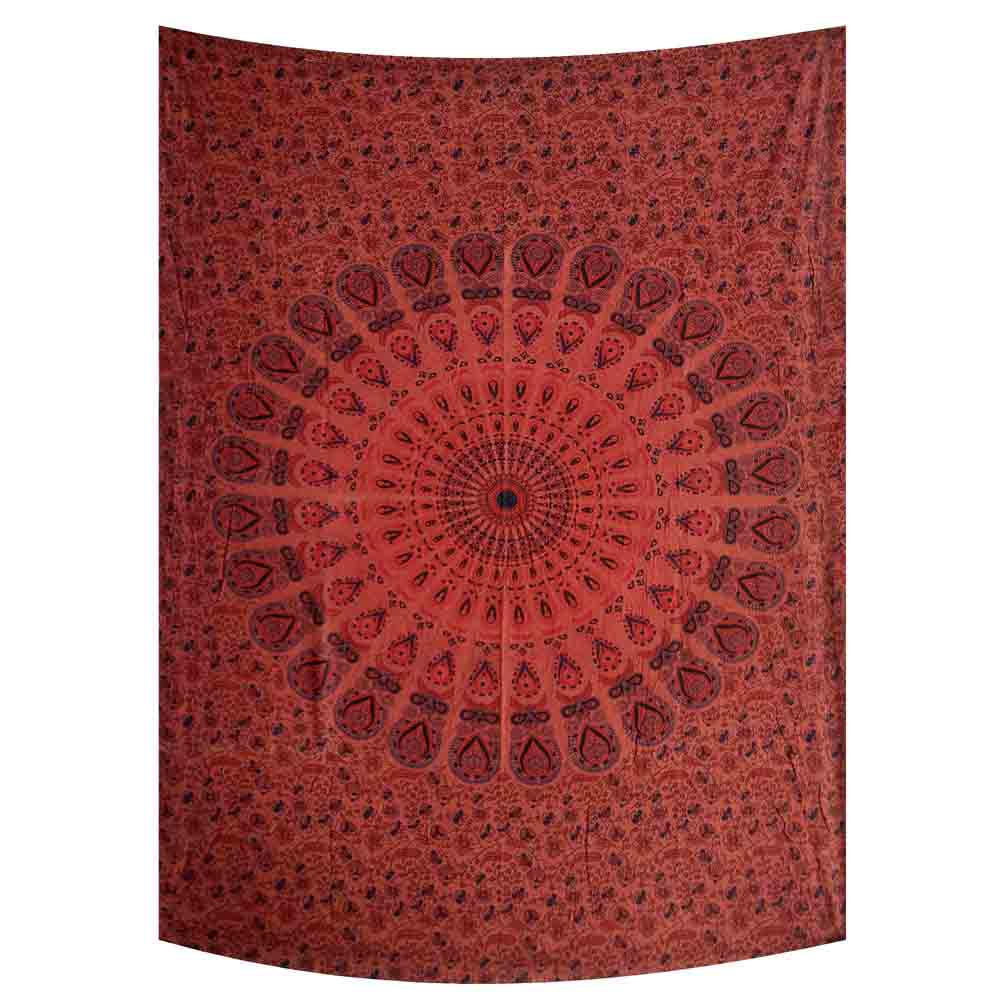 Stonewash Red Peacock Feather Mandala Small Cotton Screen Printed Wall Hanging Tapestry