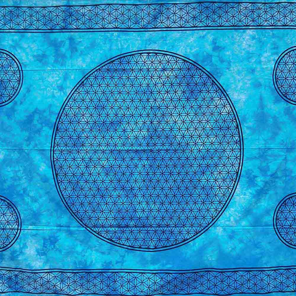 Blue Dye Flower of Life Screen Printed Queen Twin Tapestry
