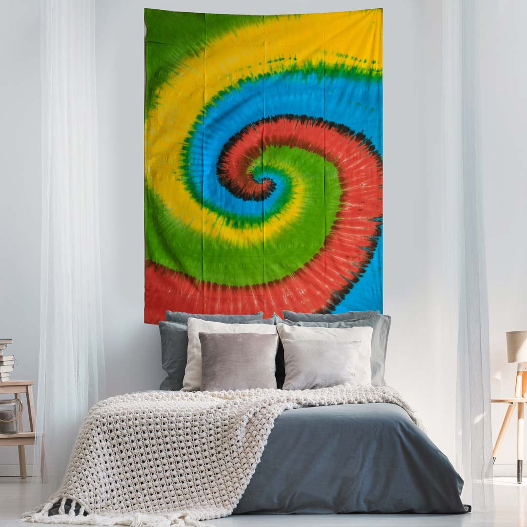 Tye Dye Spiral Queen Twin Tapestry