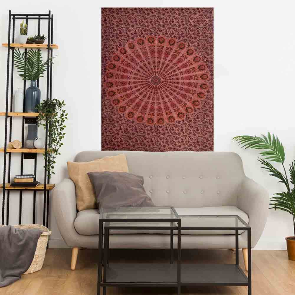Stonewash Brown Peacock Feather Mandala Small Cotton Screen Printed Wall Hanging Tapestry