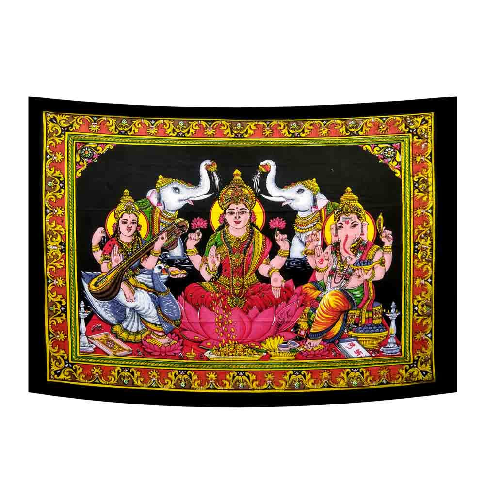 Laxmi Ganesh Saraswati Small Cotton Screen Printed Wall Hanging Tapestry