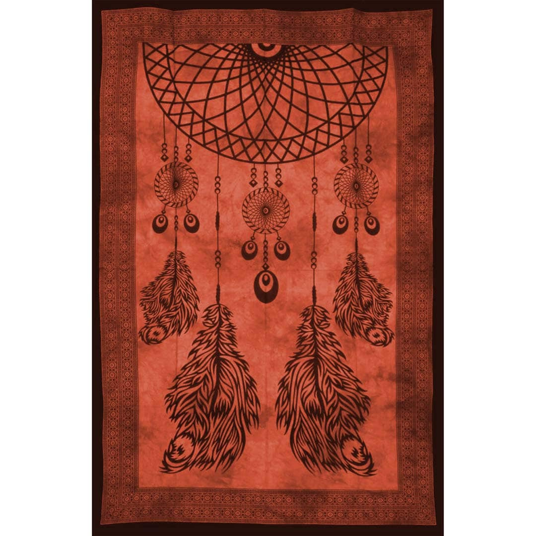Dream Catcher Red Screen Printed Four Feather Queen Twin Tapestry