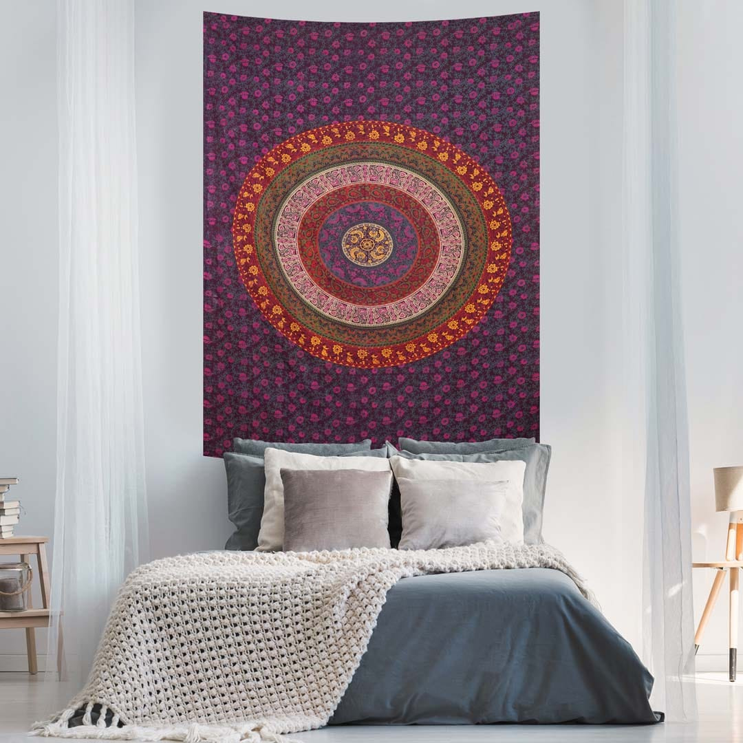 Six Kaam Mandala Purple Screen Printed Queen Twin Tapestry